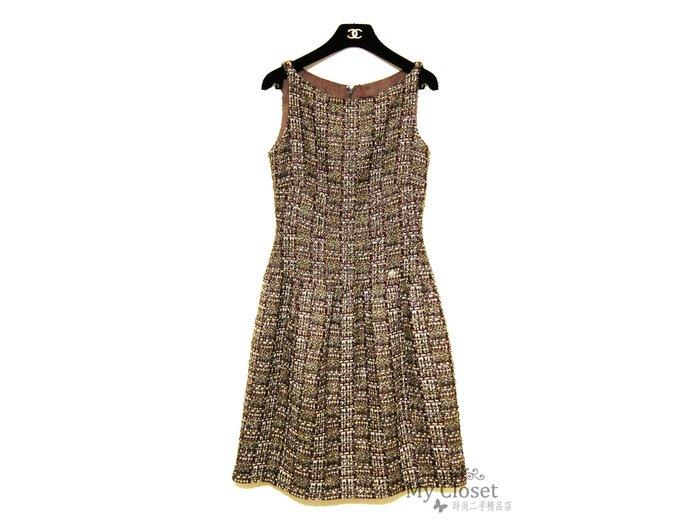 My Closet 二手名牌 CHANEL 2012A 奢華風古銅金x暗紅色系軟呢無袖洋裝