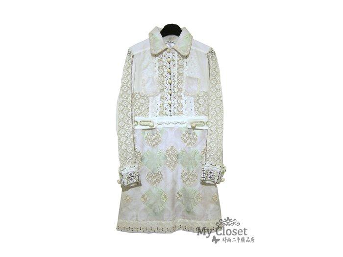 My Closet 二手名牌 CHLOE  超美米色系簍空蕾絲 長袖洋裝