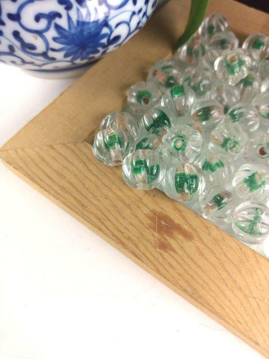 「糖巷」老琉璃,雨色新添漳水綠:水晶綠蕊南瓜珠/瓜棱珠
