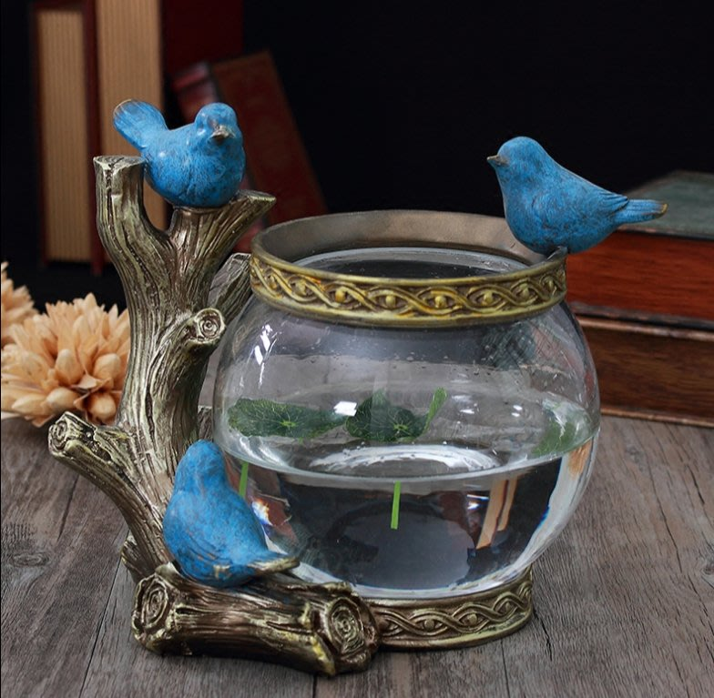 歐式創意魚缸裝飾品水草花瓶辦公桌客廳電視櫃家居風水招財擺件