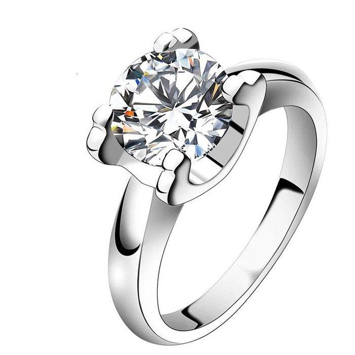 卡迪鑽戒3克拉特價新款圓夢鑽石百年經典卡家牛頭超美鉑金真鑽質感  肉眼看是真鑽不退色極光仿真鑽石  ZB鑽寶