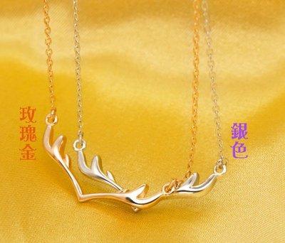 全新现货【小‧饰‧戒】新爆款/日韩S925纯银-小鹿角造型项鍊/锁骨鍊/甜美优雅