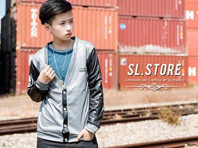 SL Store【D2318】拼接造型特殊亮面勳章小外套‧灰/黑/M/L