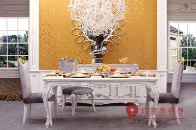 [紅蘋果傢俱] G304L 宮廷凡爾賽系列 頂級進口 歐式 法式 金箔雕花 長餐桌 新古典餐桌 餐桌椅組