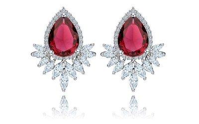 EOS 時尚精品 丹麥經典華麗款超閃CZ鑽石耳環飾 GIA 珠寶鑽石鑽戒婚戒耳環項鍊手鍊腳鍊手鐲紅寶鋯石綠寶藍寶翡翠