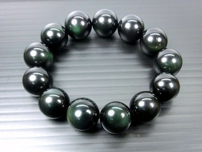 □§Disk的天然水晶§□【全綠眼】孔雀綠眼黑曜石圓珠手鍊(16mm)FE35