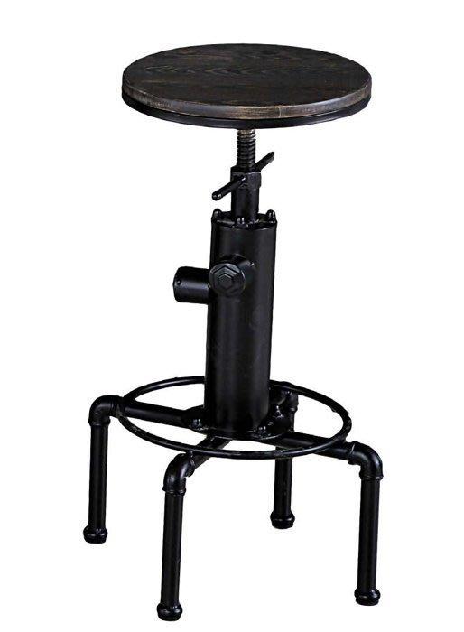 【DH】商品貨號N991-13商品名稱《安倫狄》松木實木胡桃升降吧台椅60~80CM(圖一)不含桌。旋轉可主高底。要地區免運費