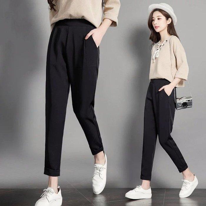 【沒賺衝流量】顯瘦西裝褲黑褲 九分高腰哈倫褲 不抽絲不起毛球透氣佳