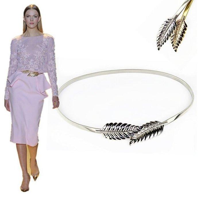女士金色銀色 樹葉 女裝金屬腰鏈 彈力松緊腰帶