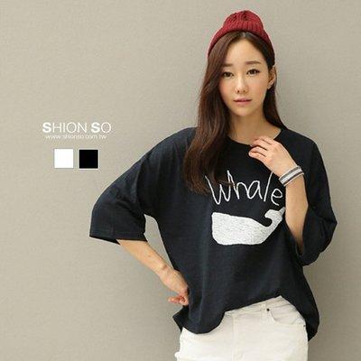 享瘦衣身中大尺碼【B1606】鯨魚印花上衣