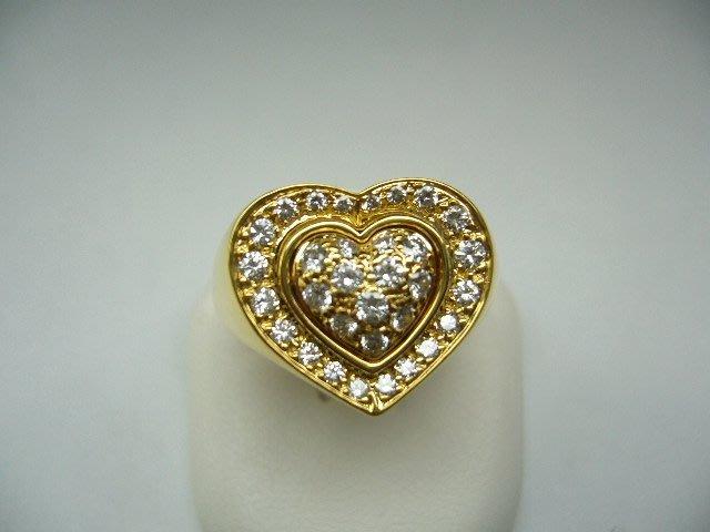 [吉宏精品交流中心]CARTIER 卡地亞 心形造型 18黃K金 原鑲鑽石 戒指(真品)