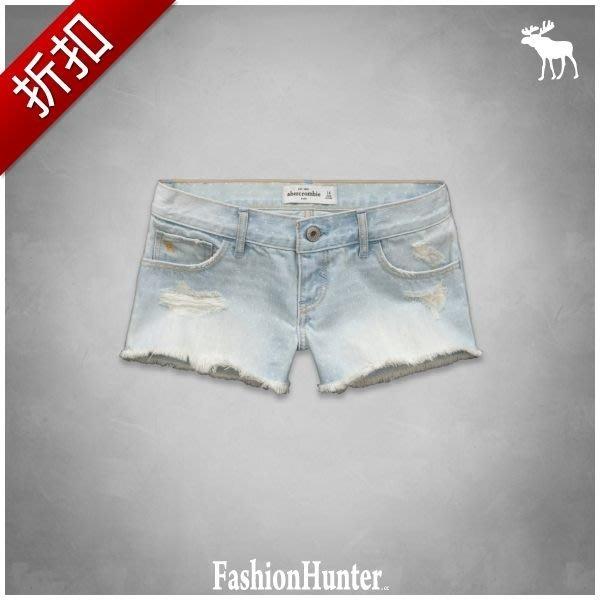 折扣【FH.cc】牛仔短褲 熱褲 a&f low rise shorts 可愛點點 刺繡麋鹿 HCO