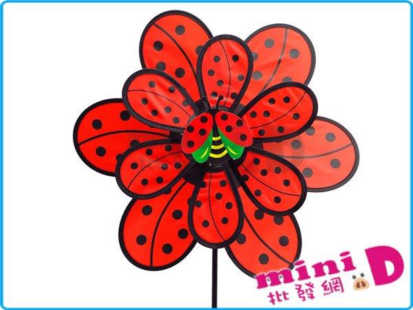 瓢蟲(雙層)風車 造型 瓢蟲 雙層 風車 裝飾 吹風 禮物 玩具批發【miniD】[7011100001]