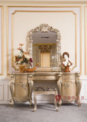 [紅蘋果傢俱] G312D洛克思瑞系列 化妝台 梳妝台 妝台 妝鏡 (另售化妝椅) 歐式 高檔 法式 奢華