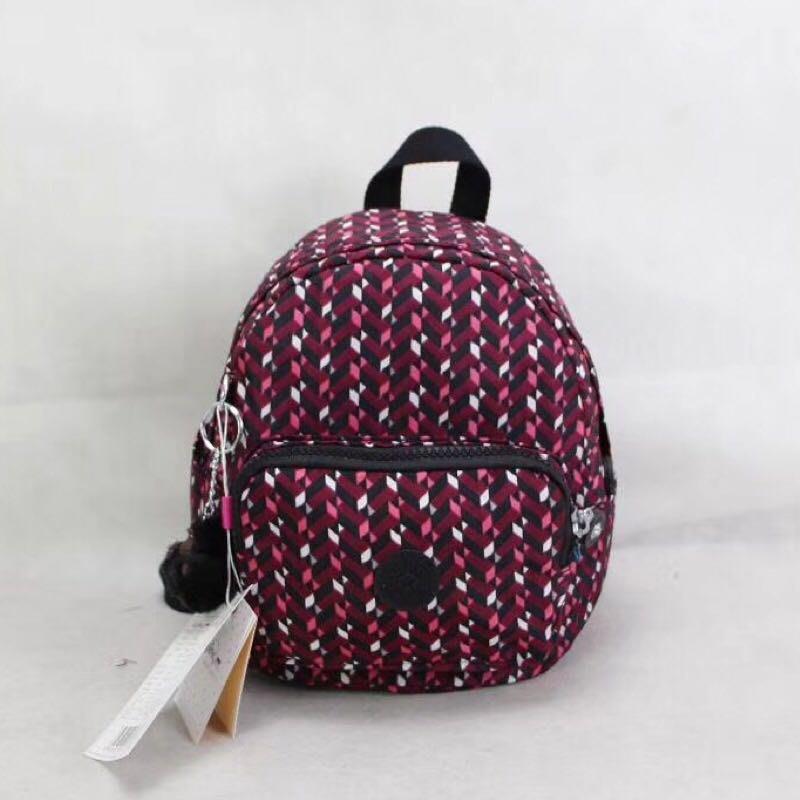 Kipling 猴子包 mini 12673 粉色幾何 多用肩背斜背輕量雙肩後背包 小號 防水 限時優惠