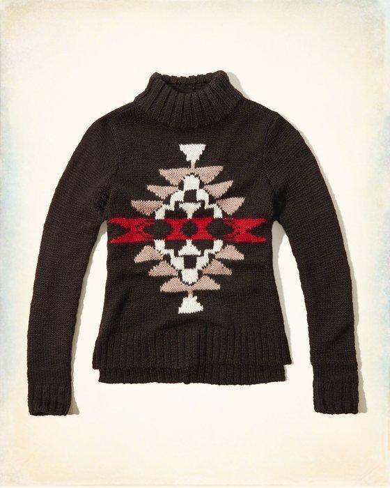 【天普小棧】HOLLISTER HCO Textured Mock Neck Sweater混羊毛套頭毛衣黑色S號