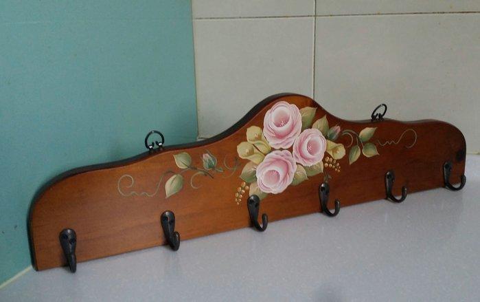 美生活館 全新鄉村 實木彩繪 粉紅玫瑰花 六勾 衣勾 衣帽掛勾 包包 外套 掛勾 店面餐廳居家