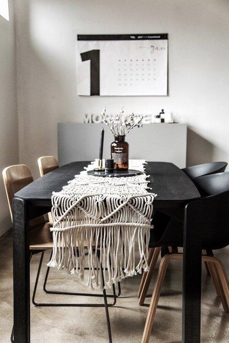 Meiprunus △ 純手工 編織 北歐 丹麥風 桌旗 桌布(M)40cm*210cm