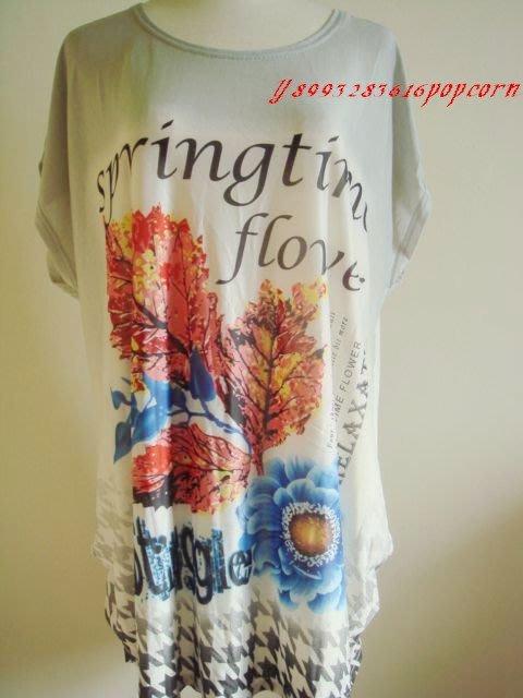 灰色漸層花朵英文印花千鳥紋下擺中大 涼感舒適上衣