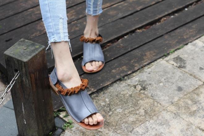 大嫂的店-手工復古真皮露趾涼鞋