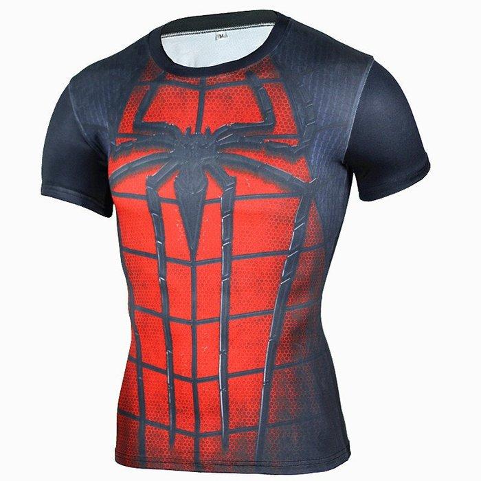 大蜘蛛 圖騰 英雄系列 圖騰 短袖緊身衣 機能服   ~焦點服飾