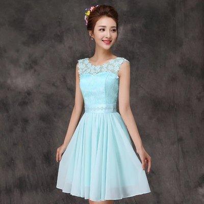 韓國風超美氣質水藍色蕾絲伴娘服 婚紗禮服 喜酒 姐妹服 小禮服