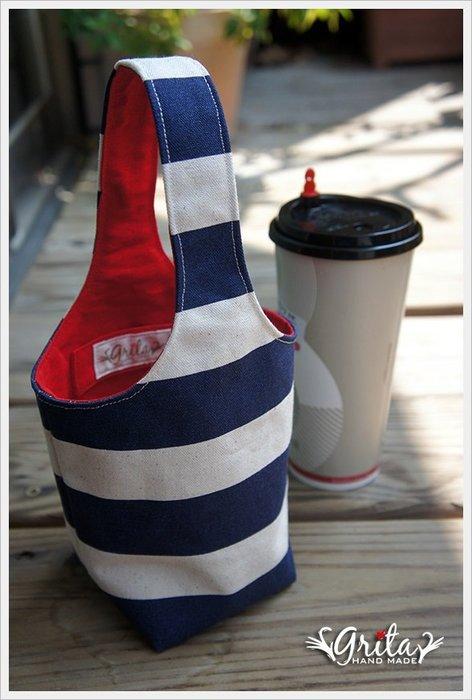 ♥grita's handmade♥手作環保飲料提袋/手搖杯/環保杯袋/隨身提包/帆布包—藍白條紋(現貨)