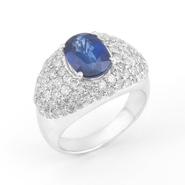 【JHT 金宏總珠寶/GIA鑽石專賣】3.04ct天然藍寶鑽戒/材質:PT900(JB23-A029)