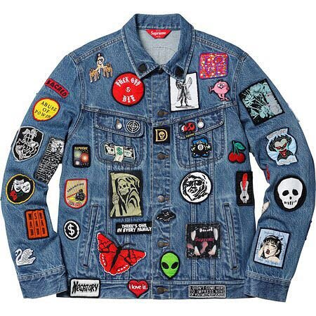 SUPREME Patches Denim Jacket Blue 尺寸L號