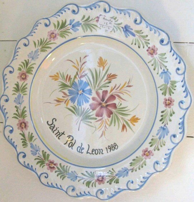 【波賽頓-歐洲古董拍賣】歐洲/西洋古董 法國古董 普羅旺斯手工彩繪陶瓷盤 32cm寬(Made in France)
