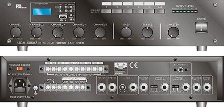 【昌明視聽】專業級廣播系統擴大機 PA TECH UCM-636AZ  5分區切換播音  MP3 FM 收音 USB