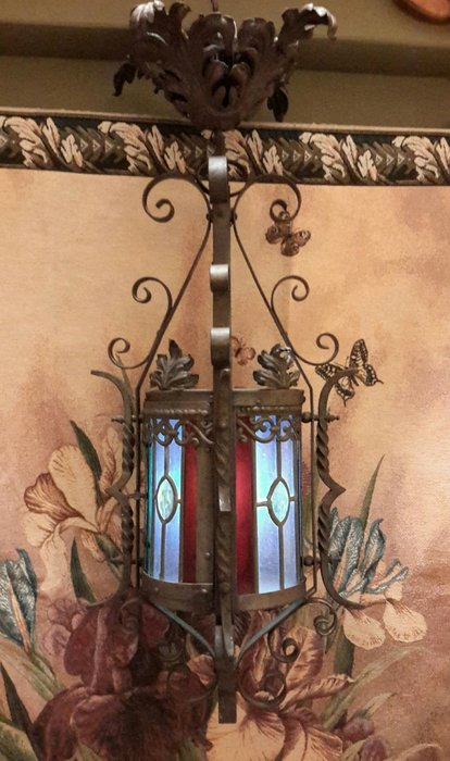 【波賽頓-歐洲古董拍賣】歐洲/西洋古董 法國古董 鍛鐵彩繪玻璃燈籠吊燈/燭台 1燈(高度:75公分)