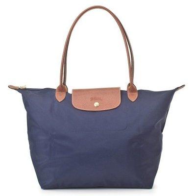 Longchamp 折疊小型長提把水餃包 深藍色