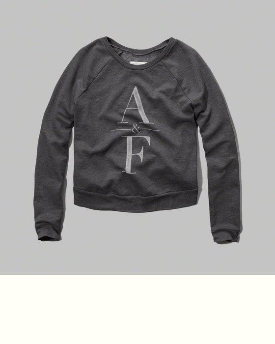 【天普小棧】A&F Abercrombie Classic logo Sweatshirt厚長袖T恤運動衫深灰XS號