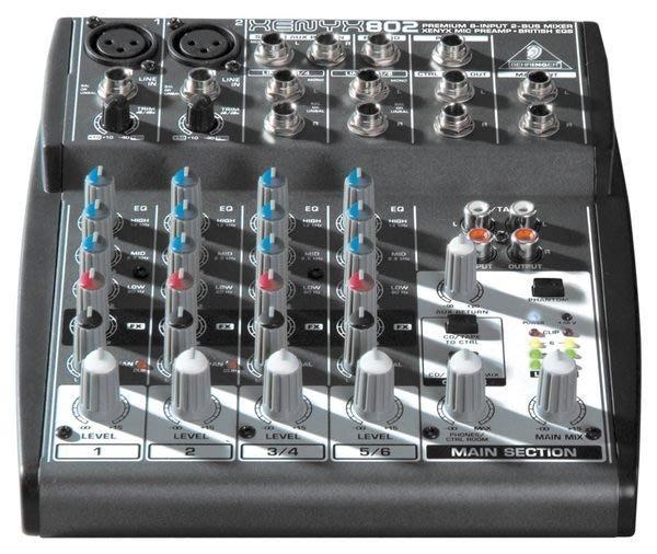 【六絃樂器】全新 Behringer XENYX 802 耳朵牌8軌混音器 / 工作站錄音室 專業音響器材