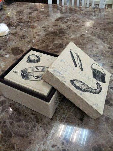OUTLET限量低價出清美生活館-- 全新鄉村ZAKKA 雜貨風格--- 麻布方型收納盒 ( 二入一組)