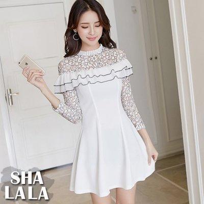 SHA LA LA 莎拉菈 韩版蕾丝镂空拼接花边长袖连衣裙洋装(S~XL)2018022503预购款