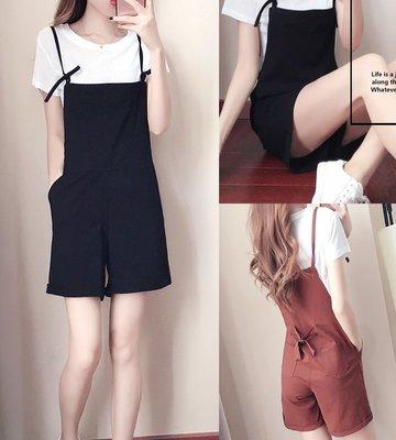 GOGO SHOP☆╭韓系新款 白色T恤+高腰吊帶闊褲【Y1538】S~XL吊帶連體褲 時尚背帶褲套裝