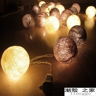 熱賣 新年聖誕節萬聖節 泰國彩燈 2公尺20燈棉線球燈 led節日燈串 婚慶婚禮聖誕樹燈 喜慶燈臥室裝飾燈戶外燈具