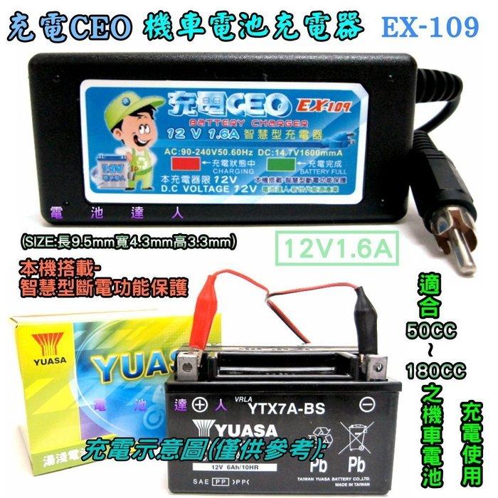充電CEO EX109 機車電池 充電機 充 YTX7A GTX7A TTZ10S GTZ