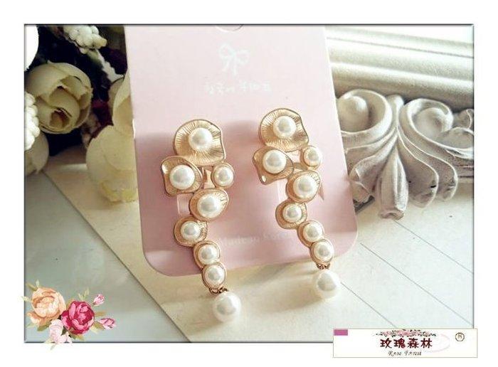玫瑰森林-- ☆°* 嚴選收藏款~ 古典氣息 珍珠金色 耳夾式 無耳洞耳環(特價)