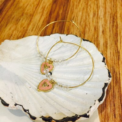 [噗噗 Store]真韓國帶回---大圓環粉紅愛心耳環
