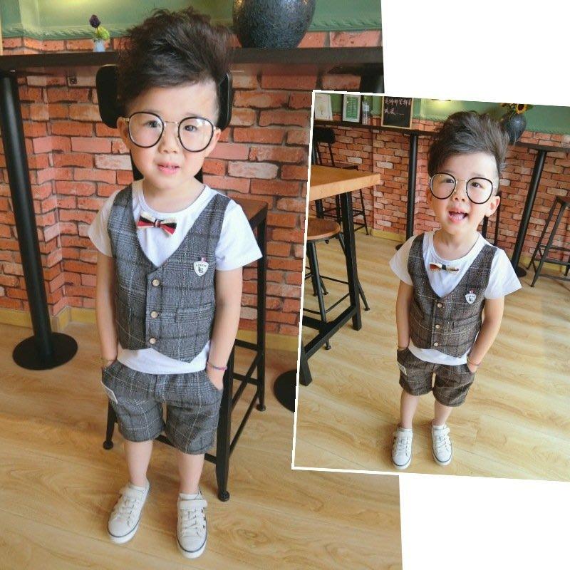 SWEET思薇【KKT】男童新款短褲套裝夏季兒童禮服馬甲假三件套西裝套裝