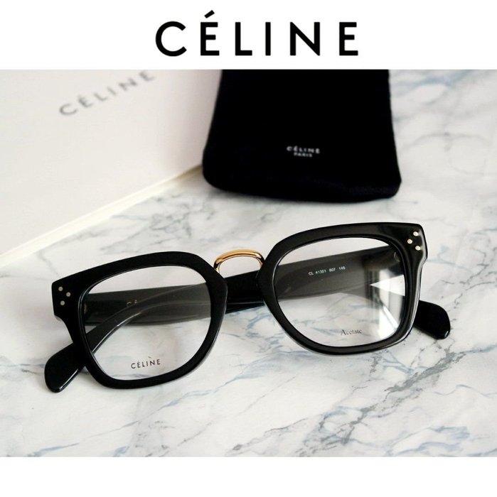 CELINE►Bridge (黑色框×金屬金色/深琥珀色×金屬金色)  貓眼方框框型  眼鏡 光學鏡框  中性款|100%全新正品|特價!
