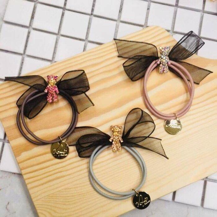 現貨 供應 茉莉 正韓 質感 髮飾 韓國 飾品 三色各一 水鑽 泰迪熊 公主紗 蝴蝶結 髮束