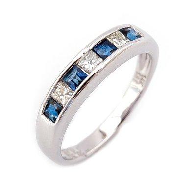 【JHT 金宏總珠寶/GIA鑽石專賣】0.55ct天然藍寶鑽石線戒/材質:14K(S00033)