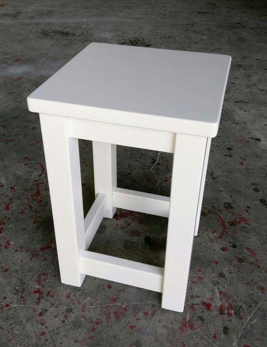 美生活館鄉村家具訂製全原木純白色方板凳 餐椅 吧檯椅 工作椅 書桌椅 也可修改尺寸與顏色工廠直營民宿系統訂製居家佈置