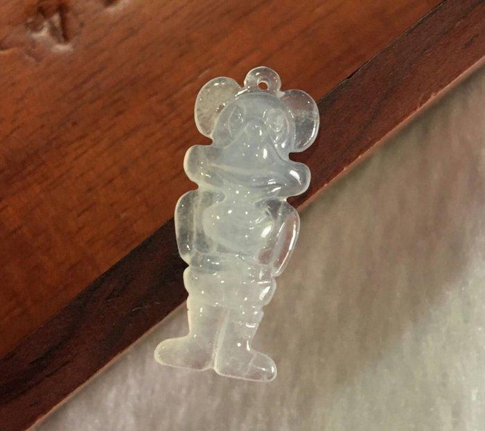 珍奇翡翠珠寶首飾-玉墬系列-天然緬甸玉A貨~放光冰玻璃種白翡。玉質冰透強放光。雕工非常精細。米老鼠玉墜