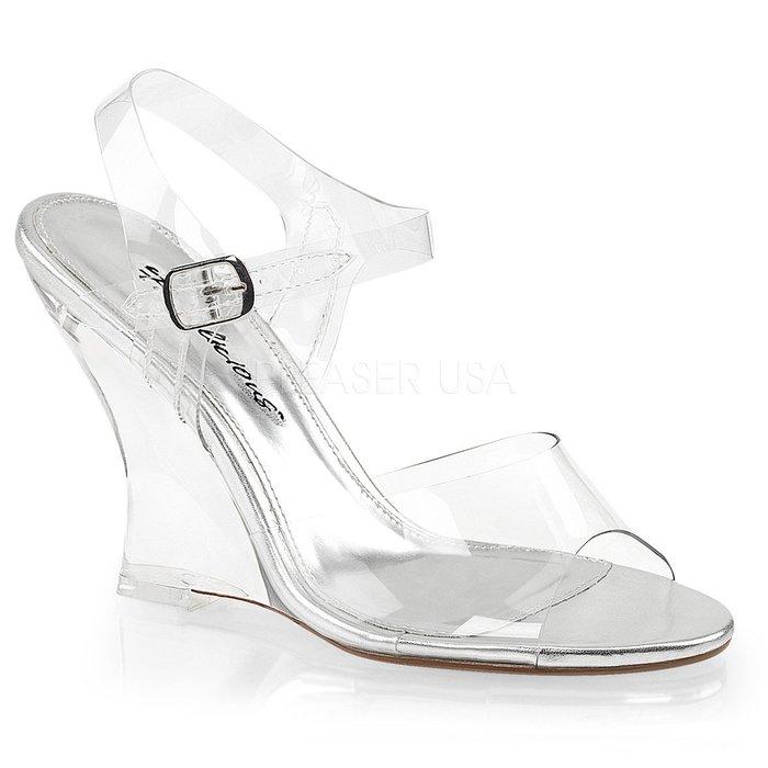 Shoes InStyle《四吋》美國品牌 FABULICIOUS 原廠正透明楔型高跟涼鞋 有大尺碼『銀白色』