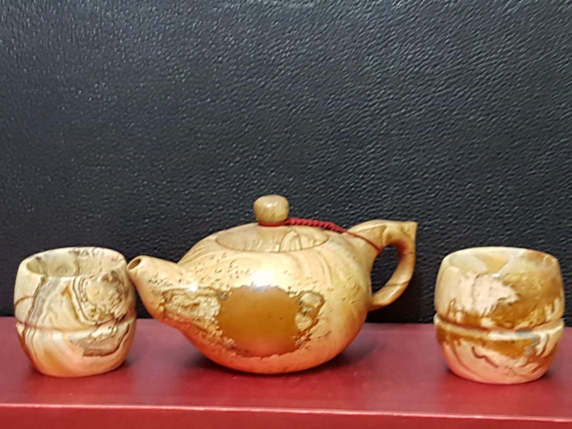早期花蓮 木化石雕茶壺